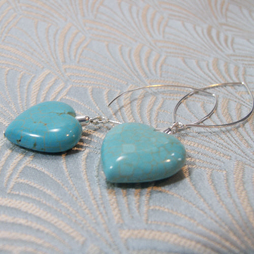 long drop turquoise earrings, semi-precious jewellery uk, turquoise jewellery
