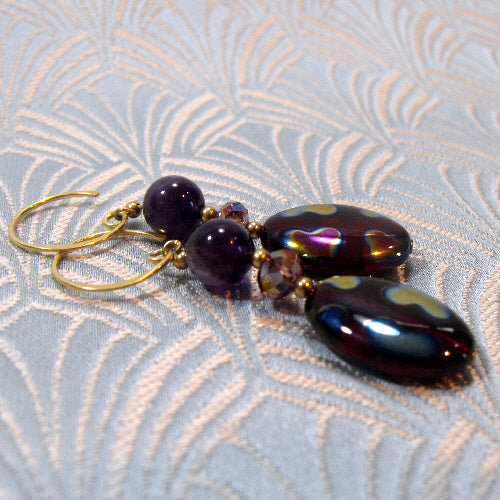 handmade bead earrings, semi-precious gemstone jewellery earrings, beaded earrings