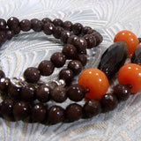 coral and smoky quartz gemstone beads