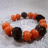 coral and smoky quartz bracelet design