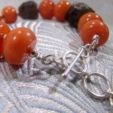 bright orange coral brown smoky quartz