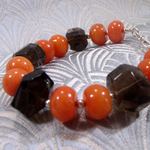 smoky quartz bracelet, handmade gemstone jewellery bracelet, smoky quartz jewellery uk crafted