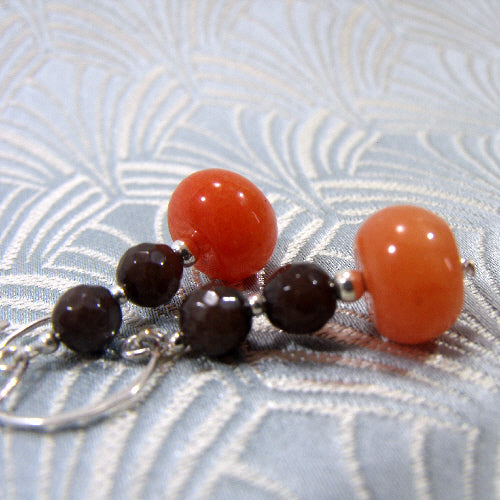 coral handmade gemstone earring jewellery, semi-precious gemstone jewellery earrings uk