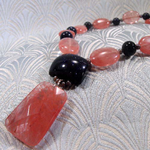 strawberry quartz pendant necklace, handmade gemstone necklace jewellery uk