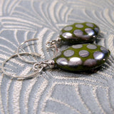 green czech bead earrings