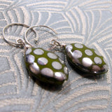 green czech glass bead earrings