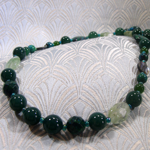 long gemstone necklace, handmade semi-precious stone jewellery agate jasper