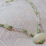 green jade necklace jewellery, handmade gemstone necklace, unique jade necklace