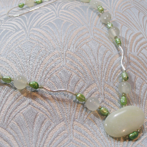 Semi-Precious Green Jade Necklace
