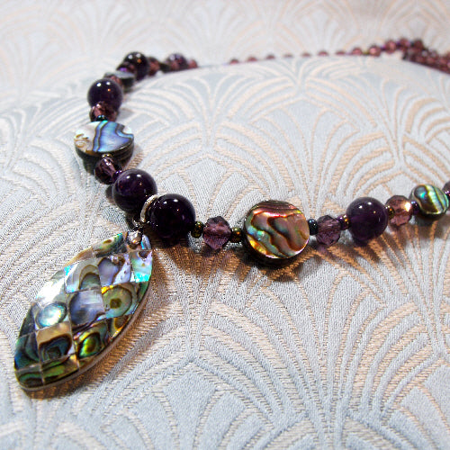 paua shell necklace, handmade gemstone jewellery UK,  semi-precious stone necklace uk
