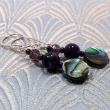 paua shell amethyst earrings
