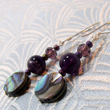 paua shell earrings, handmade semi-precious stone jewellery earrings, gemstone jewellery uk