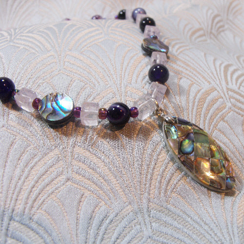 paua shell necklace, handmade semi-precious gemstone necklace unique design