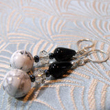 white howlite semi-precious stone earrings uk