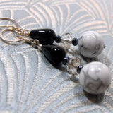 semi-precious white howlite handmade earrings