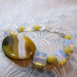 yellow agate bracelet, unique semi-precious stone jewellery necklace, agate jewellery handmade uk