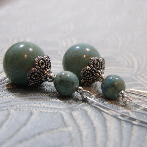 Long Turquoise Earrings, Long Drop Semi-precious Stone Earrings (972)