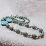 Long Turquoise Necklace, Long Semi-Precious Stone Necklace (A07)