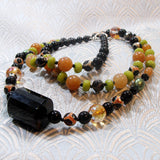 long semi-precious stone necklace, handmade gemstone jewellery necklace handmade uk