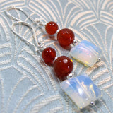 carnelian earrings, unique gemstone jewellery earrings, handmade carnelian jewellery