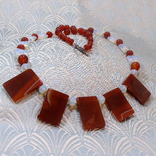 carnelian necklace, semi-precious stone jewellery necklace, carnelian jewellery handmade uk