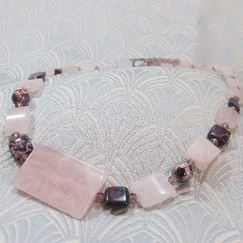 rose quartz necklace, unique semi-precious necklace jewellery, rose quartz jewellery