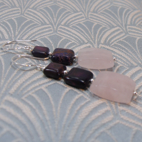 long drop rose quartz earrings, handmade gemstone jewellery, handmade rose quartz jewelelry