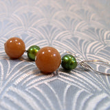 semi-precious red aventurine earrings handmade uk