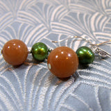unique aventurine semi-precious stone earrings