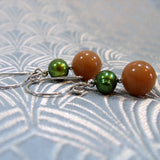 semi-precious aventurine gemstone earrings uk