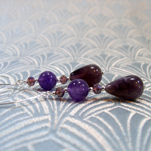 long drop amethyst earrings, handmade gemstone earring jewellery, amethyst jewellery