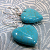 heart turquoise earrings, semi-precious gemstone jewellery, turquoise jewellery uk