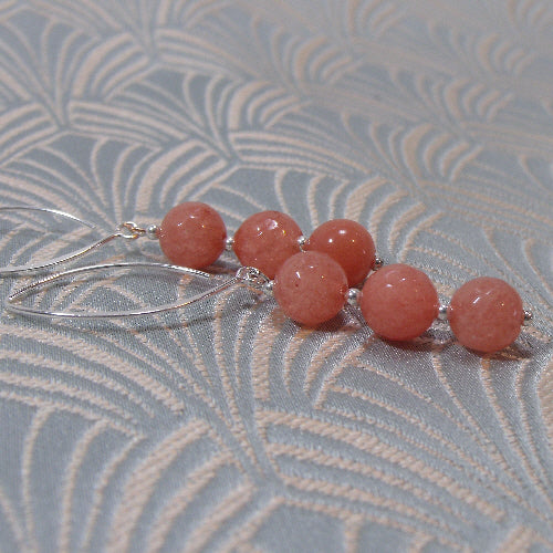 coral pink earrings, long semi-precious stone earrings, handmade gemstone jewellery uk