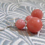 coral pink earrings, handmade gemstone earring jewellery, handmade earrings uk