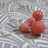 unique coral pink semi-precious stone earring design