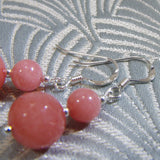 coral pink handmade earrings