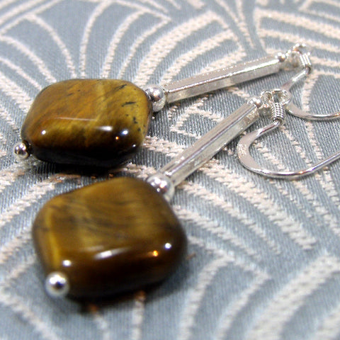 Tigers Eye Earring Jewellery, Semi-precious Stone Earring Design