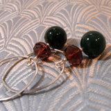 long green agate gemstone earrings