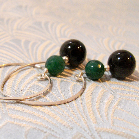 Long Agate Earrings, Long Drop Semi-precious Stone Earrings (996)