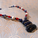 sodalite necklace, unique semi-precious stone jewellery, gemstone necklace uk