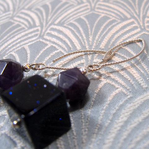 Blue Goldstone Earrings, Handmade Semi-Precious Stone Earrings UK