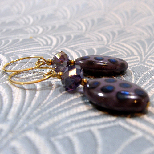 purple bead earrings uk, handmade earrings uk, unique gemstone jewellery