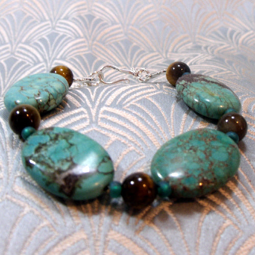 turquoise bracelet uk, unique semi-precious handmade gemstone jewellery bracelet
