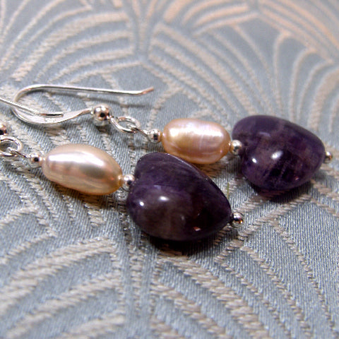 Semi-Precious Stone Earrings, Handmade Amethyst Earrings UK