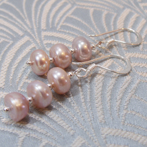 freshwater pearl earrings handmade uk, unique handcrafted jewellery design