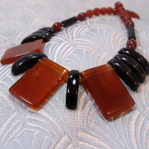 handmade carnelian necklace, semi-precious stone necklace jewellery handmade uk