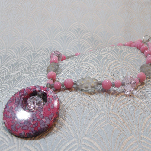 pink grey gemstone pendant necklace,  unique handmade jewellery necklace