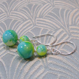 glass bead sterling silver earrings