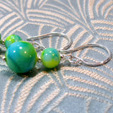 glass bead earrings with sterling silver hooks