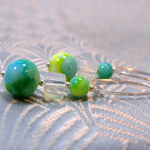 Handcrafted Jewellery Earrings UK, Semi-Precious Long Drop Earrings